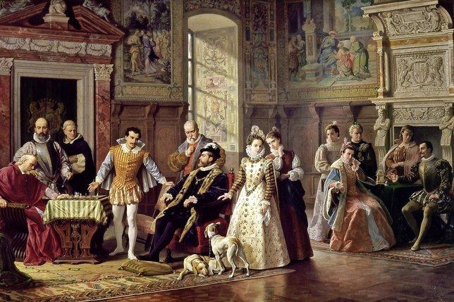 Tournoi d'échecs à la cour d'Espagne, une œuvre de Luigi Mussini. Lorsque en 1575 le moine Ruy Lopez de Segura affronta Leonardo di Bona devant le roi Philippe II, mille pièces d'or étaient en jeu. © DR