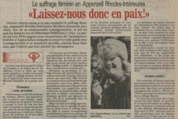 Droit de vote des femmes 1971-2021: reportage en Appenzell
